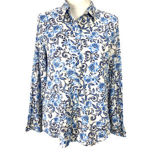LOFT Floral Button Down Top White and Blue - M